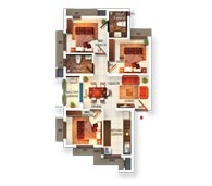 Typical Floor Plan Type A (3BHK)