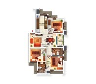 Typical Floor Plan Type E (3BHK)