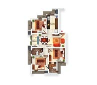 Typical Floor Plan Type F (3BHK)