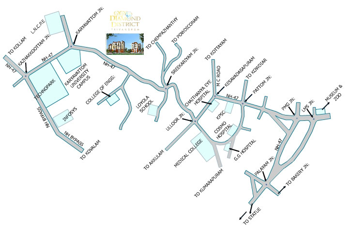 apartments in Trivandrum city location map