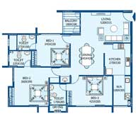 apartments in Trivandrum city floor plans tower1 type a