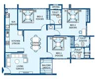 apartments in Trivandrum city floor plans tower1 type d