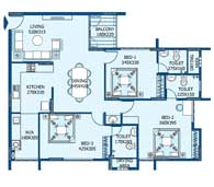 apartments in Trivandrum city floor plans tower1 type e