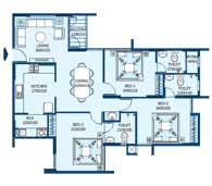 apartments in Trivandrum city floor plans tower2 type f