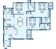 apartments in Trivandrum city floor plans tower3 type a