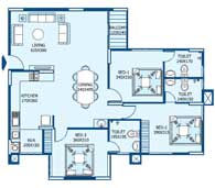 apartments in Trivandrum city floor plans tower3 type b