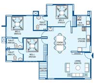 apartments in Trivandrum city floor plans tower3 type h