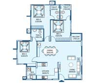 apartments in Trivandrum city floor plans tower3 type k
