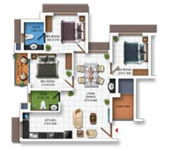 Typical Floor Plan of Type A (3BHK - 990 sq.ft)