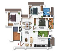 Typical Floor Plan of Type B (3BHK - 996 sq.ft)