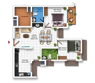 Typical Floor Plan of Type C (2BHK - 877 sq.ft)