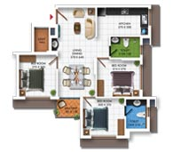 Typical Floor Plan of Type D (3BHK - 978 sq.ft)