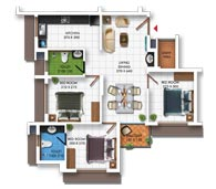 Typical Floor Plan of Type E (3BHK - 973 sq.ft)