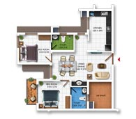 Typical Floor Plan of Type F (2BHK - 887 sq.ft)