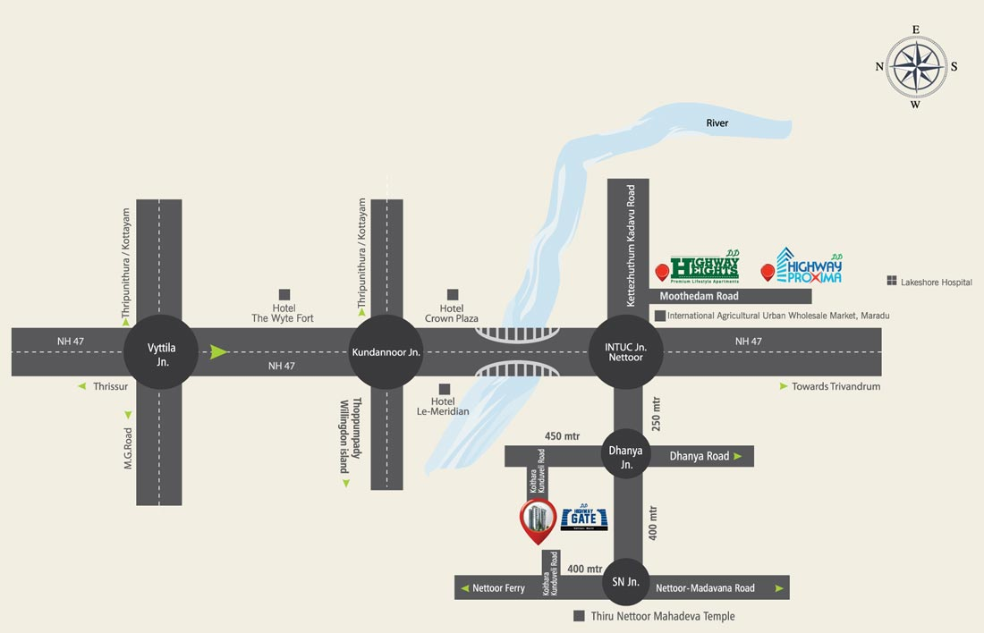 apartments in Kochi city location map