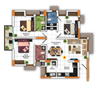 Typical FLoor Plan for Type A (3BHK - 1,255 sq.ft)