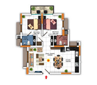 Typical Floor Plan for Type B (2BHK - 937 sq.ft)