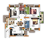 Typical Floor Plan for Type C (3BHK - 1,257 sq.ft)