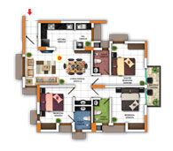 Typical Floor Plan for Type D (3BHK - 1,257 sq.ft)