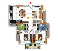 Typical Floor Plan for Type E (2BHK - 936 sq.ft)