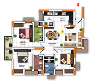 Typical Floor Plan for Type F (3BHK - 1,252 sq.ft)
