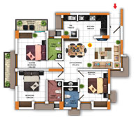 Typical Floor Plan for Type G (3BHK - 1,247 sq.ft)