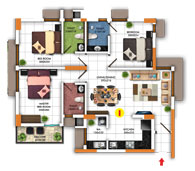Typical Floor Plan for Type I (3BHK - 1203 sq.ft)
