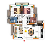 Typical FLoor Plan for Type J (2BHK - 911 sq.ft)
