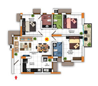 Typical Floor Plan for Type K (3BHK - 1,205 sq.ft)