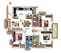 Typical Floor Plan for Type L (3BHK - 1,197 sq.ft)