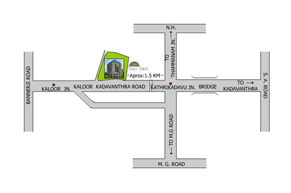 office space for rent in Kochi location map