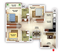 flats in Kottayam floor plans type a