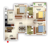flats in Kottayam floor plans type b