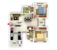 flats in Kottayam floor plans type c