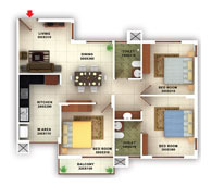 flats in Kottayam floor plans type d