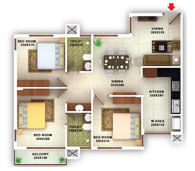 flats in Kottayam floor plans type e